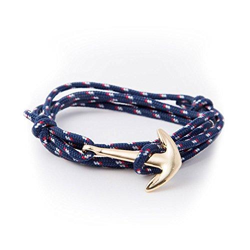 Bracelet Ancre de navire bateau bleu et doré Homme femme unisexe - Corde en nylon bleu foncé rouge et blanc - Enclume en acier inoxydable plaqué or - A enrouler autour du poignet