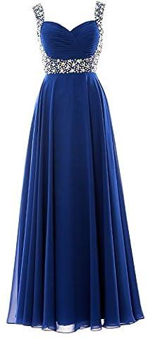 MACloth Women Straps Crystal Chiffon Long Prom Wedding Party Dress Evening Gown (EU58, Royal Blue)