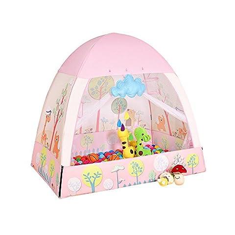 TING- Kinder-Spiel-Zelt-Rosa-Rotwild und grünes Krokodil-Karikatur-Muster, das Ozean-Kugel-Haus-Innen- und im Freienspielwaren Großes Zelt-Strandzelt 141cm * 91cm * 132cm (Geschenk-Marineball) ( Farbe : Pink )