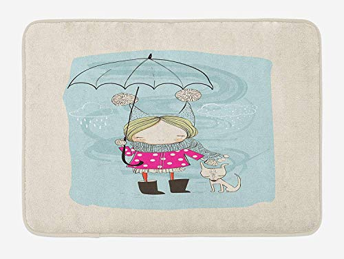 Icndpshorts Kids Bath Mat, Little Girl Illustration in Winter Clothes Umbrella and a Cute Dog in Rainy Weather, Plush Bathroom Decor Mat with Non Slip Backing, 23.6 x 15.7 Inches, Multicolor Combo Winter Liner