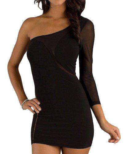 Pinkyee Damen Strandkleid Schwarz - 139643-Black