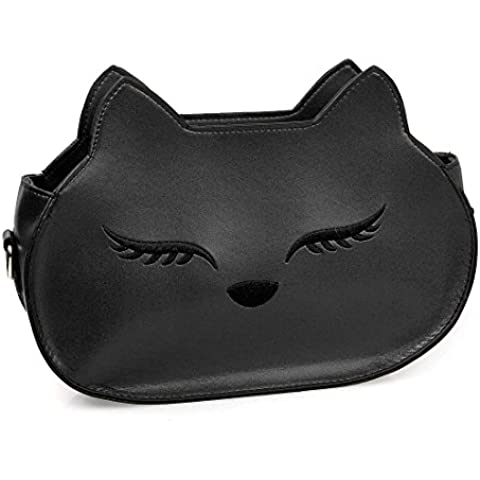 BMC da donna in similpelle in pelle Fox muso di tema a tracolla Borsa Fashion frizione - Bag Obsidian