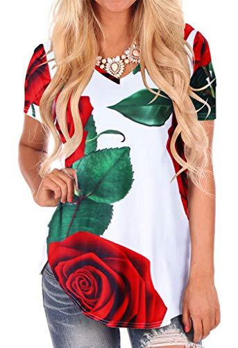 Stoffdruck T-Shirt für Damen kurzärmelig Sweatshirtc Top Lose Rosa M -