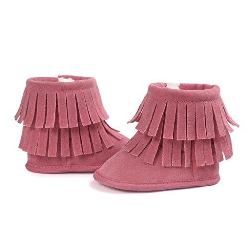 Amlaiworld Baby Schneestiefel Warm Doppelstock-Quasten weiche Sohle weiche Krippe Schuhe Wassermelone Rot