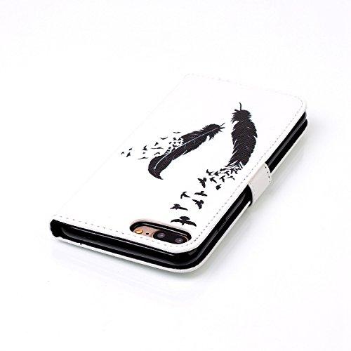 Coque pour iPhone 7G / 7,Housse en cuir pour iPhone 7G / 7,Ecoway Colorful imprimé étui en cuir PU Cuir Flip Magnétique Portefeuille Etui Housse de Protection Coque Étui Case Cover avec Stand Support  YH-05