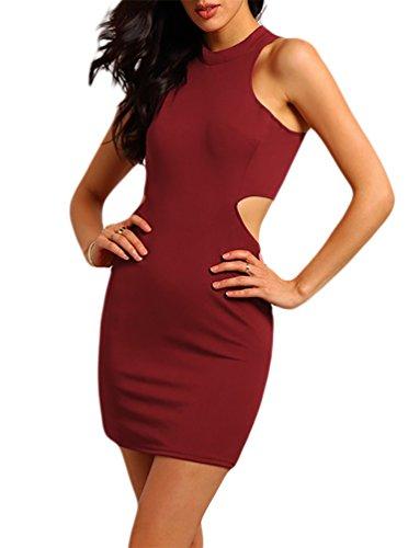 Baymate Femmes Casual Mini Robe Vêtements Sans Manches Robes De Soirée Rouge