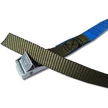 4x Correas de sujeción ideal para fijación en el portabicicletas, Klem Candado Seguridad, correas de amarrar, color verde oliva, Iapyx®