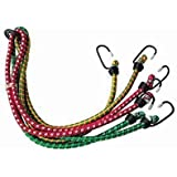 Bigzoom High Strength Elastic Bungee/Shock Cord Cables, Luggage Tying Rope with Hooks, Set of 5 for-Royal Enfield…
