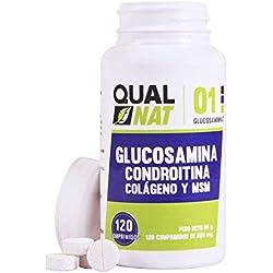 Glucosamina Condroitina + Colágeno y MSM | Reduce el dolor de Huesos y Articulaciones | 100% Natural | 120 Comprimidos