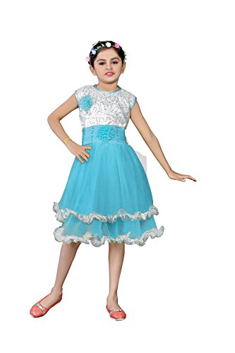 White World Baby Girls sky Color Fairy Frock Dresses for Birthday Party...
