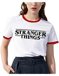 Shirt Ringer tee Stranger Things Camiseta Mejores Amigas Best Friend Impresión T-Shirt Manga Corta1