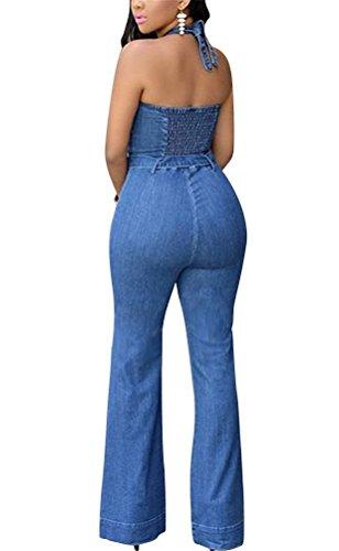 Brinny Jeans Femme Mince Style Halter Combinaison Salopette Barboteuses Tops + Pantalon en Denim Casual lâche Bleu Taille: S-XL Bleu