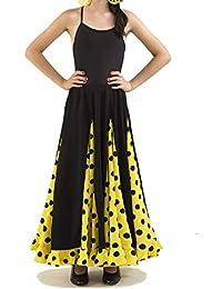 Anuka Conjunto de niña para Danza Flamenco o sevillanas. Dos Piezas, Body Tirantes y Falda de Vuelo.