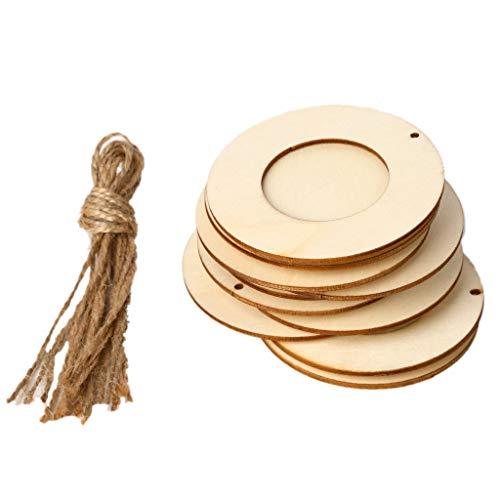 siwetg 10 Teile/Satz Holz Mini Runde Bilderrahmen Hängen Handwerk DIY Handgemacht Mit Seilen Dekoration Ornament