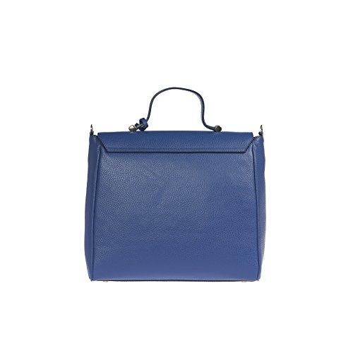 Trussardi Borsa a Mano da Donna in Vera Pelle Dollaro 100% Vitello con Tracolla Interna - 32x30x14 cm Blu