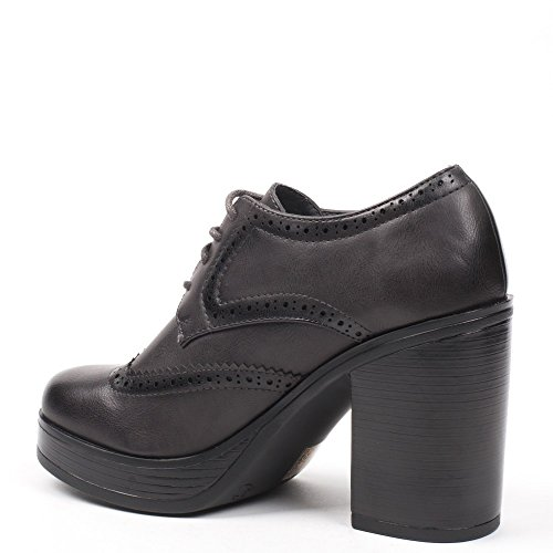 Ideal Shoes–Richelieu con tacco spessa kaely Grigio