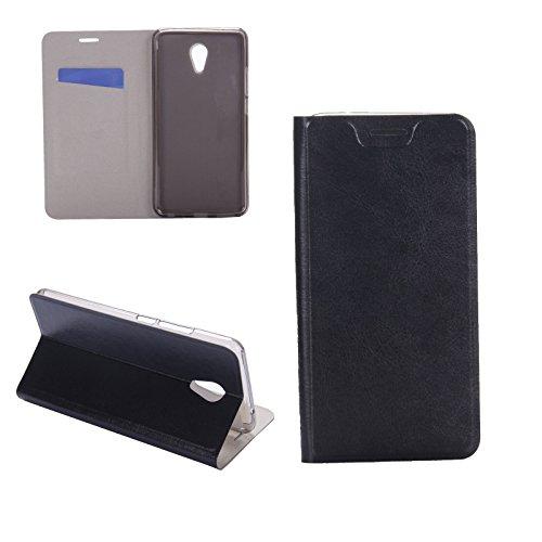 Digital Bay Hülle MEIZU M5 Note Taschen [Flip Armor] Kartenfach [Diamant Schwarz] Doppelte Schutzschicht mit Luftpolster-Kantenschutz - Card Holder Schutzhülle, Jet Black
