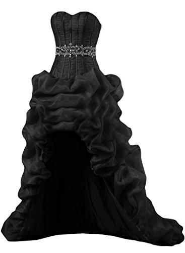 Gorgeous Bride Luxury Taegerlos Lang Hi-Lo Satin Organza Abendkleider Festkleider Ballkleider Schwarz
