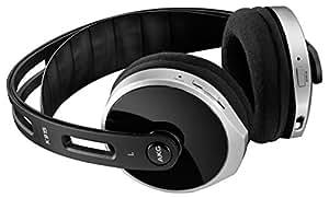 AKG K915 Wireless Digital-Stereokopfhörer (Integrierter Lautstärke- und Musiksteuerung, Inkl. Ladeschale Dockingstation Kompatibel mit Apple iOS und Android Geräten) schwarz/silber