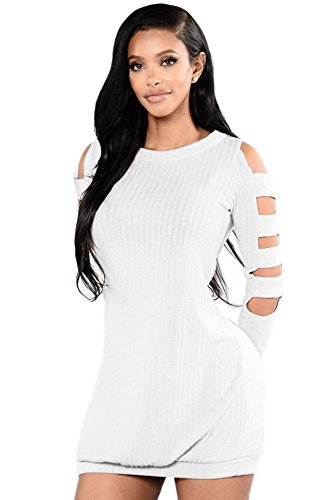 New Frau weiß Kalte Schulter Hohl Out Sleeve Pullover Jumper Kleid Casual Club Winter Wear Abend Party Wear Größe M UK 10–12 EU 38–40 (Pullover Hohlen-out)