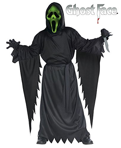 Ghost Face Scream Kostüm mit Leuchtfunktion Jungen Teenager Kinderkostüm Geist, Kindergröße:134 - 8 bis 10 - Ghost Face Kostüm Kind