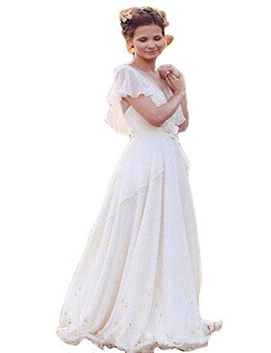 mxgirls Vintage Chiffon Boho Brautkleider mit Flügelärmeln Spitze Appliques Strand Brautkleider...