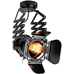 Linkax Lámpara de Techo vintage industrial Lámpara Colgante Proyectores De Hierro Luz De Techo Para Loft Dormitorio Oficina Luminación Decorativa (E27 bombilla no incluida)
