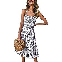 a9fd80d0b51858 Angashion Damen Sommerkleid Swing Blumenkleid Verstellbarer Spaghettiträger  Strandkleid A-line Partykleid mit Gürtel Tasche