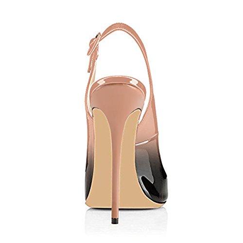 Onlymaker Damen Sandalen High Heels Slingback Stiletto Peep Toe Pumps Glitzer Party Nude2