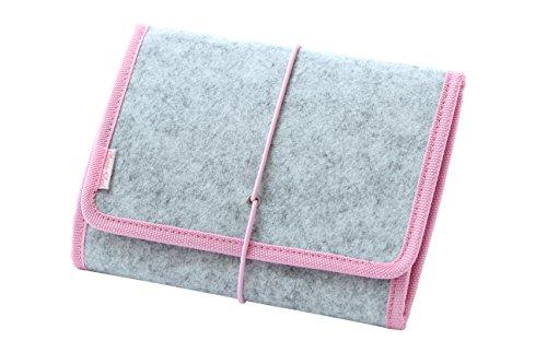 Taschenorganizer - veganer Handtaschen Organizer - Ordner für Reisezubehör oder alltägliche Accessories - Filz - 20cm*15cm - hellgrau/pink (Geldbörse Classic Pink)