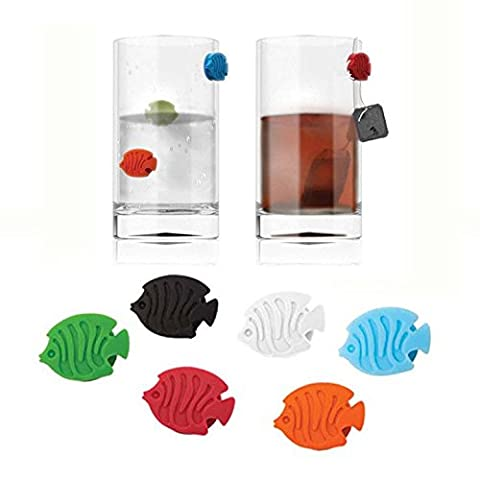 CKB Ltd® Pack of 6 - COLOURED TROPICAL FISH Poisson Wine Markers Verre à vin Marqueurs Silicone Mixed Colour Set -Perfect For Parties - Easily sticks to the sides of all types of glasses and bottles Ustensiles pour bar et vin
