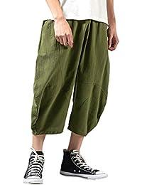 e491daba69 VPASS Pantalones Hombre Verano Moda Casual Impresión Pantalones Pop Lino  Suelto Pants Trend Chándal de Hombres