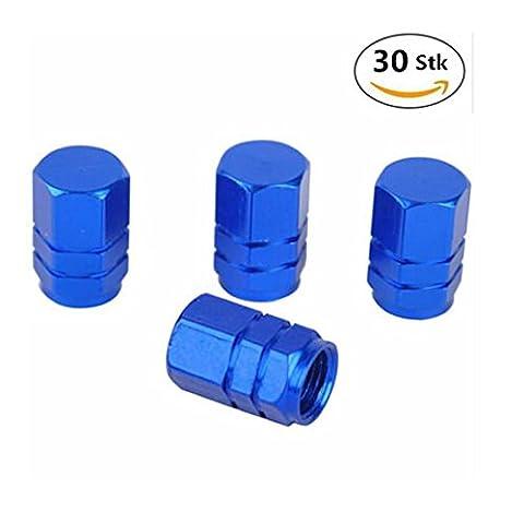 MAXGOODS 30 Stk Aluminium Reifen Rad Schaft Luft Ventil Kappen, für Auto LKW Fahrrad (Blau)