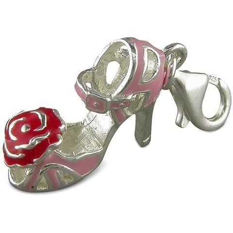 Plata de ley de color rosa y zapato de tacón y Rose con encanto por Thomas Sabo estilo de la pulsera