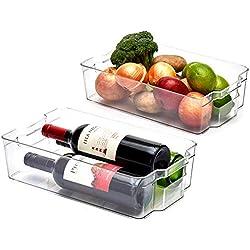 EZOWare Panier de Rangement en Plastique, Grand Bacs de Rangement, pour Frigo, Réfrigérateur, Congélateur, Cuisine, étagères, Salle de Bain- Pack de 2