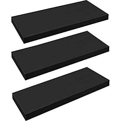 Harbour Housewares Pack of 3 Floating Wooden Wall Shelves 60cm - Black