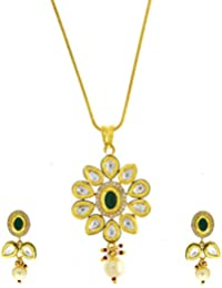 Anuradha Art Green Coloured Golden Tone Studded With American Diamonds And Classy White Kundan Pendant Set For...