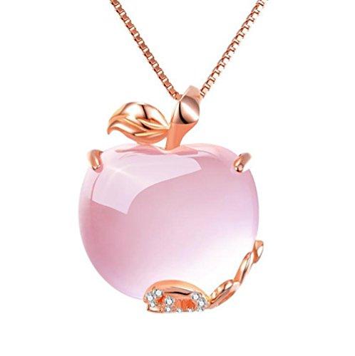 Westeng Rosa Kristall-Apfel-hängende Halskette mädchen, die mit Rhinestones überzogen und Kristall für Frauen-Weihnachtsgeschenk verziert wird