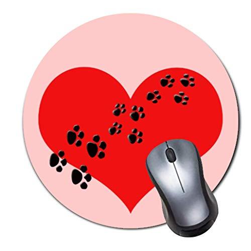 Mauspad,kleines,rutschfestes Mousepad auf Gummibasis mit aktualisiertem,vern?htem Rand,Office-Mauspad f¨¹r M?dchen,Desktop-Zubeh?r,runde Mausunterlage-cute red heart and paw prints pet tag