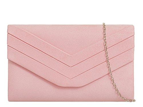 fi9® - Cartera de mano de ante para mujer rosa rosa pastel