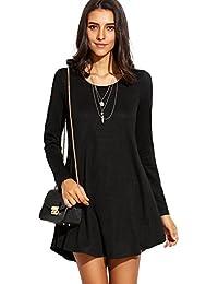 DIDK Damen Casual Kleider Lose Elegant Minikleider Einfarbig Tunika Langarm  Rundhals Kleid 12373f9f57