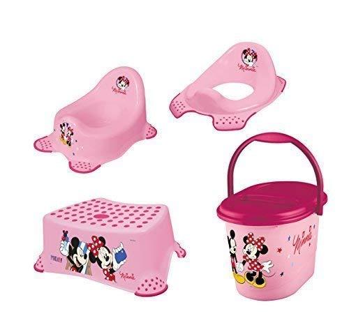 Minni Mouse 4 Set Vasino Wc + Sgabello + Pannolino Nuovo