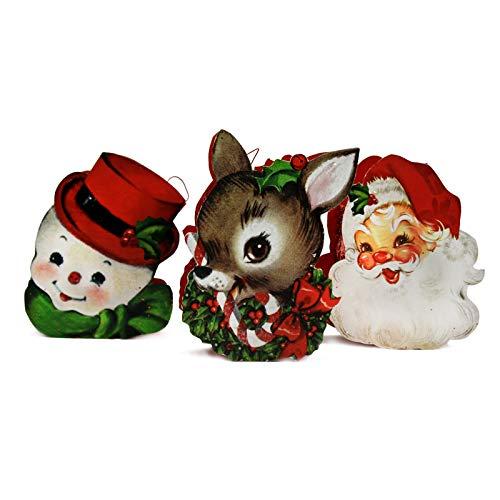 Bethany Lowe Designs Set / 3 Retro-Eimer Santa Rentier Schneemann Weihnachtsdekoration -