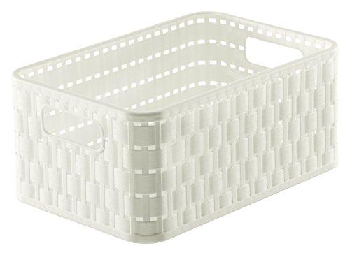 Rotho 1165501100 Aufbewahrungskiste Dekobox Country in Rattan-Optik aus Kunststoff (PP), Inhalt Circa 4 L, Format A6+, Circa 23,7 x 15,8 x 10,8 cm, Weiß