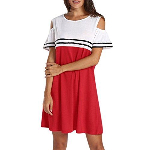 ESAILQ Damen Kleider Damen Rockabilly Kleid Elegante Kleider Lange Kleider Frauen Sommer (XXXXXL,Rot)
