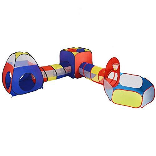 ADATEN Fossa per Bambini Tende Tunnel Cerchio per Palle 5 in 1 Bambino Combinazione di libertà Pop-up Pieghevole Portatile casetta da Gioco Castello all'aperto al Coperto Palestra