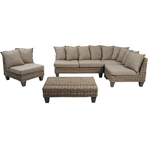 Set da 5 pezzi in vimini, colore: grigio/legno di mango, 2 poltrone con cuscini, 1 divano, con cuscini 1 sedia, con cuscini 1 Tavolino basso