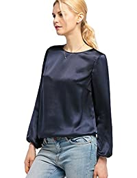 a59cbca0d39b70 LILYSILK Women s 22MM Relaxed Fit Round Neck Silk Blouse T Shirt Top for  Ladies