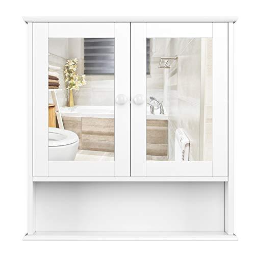 Homfa Spiegelschrank Hängeschrank Badschrank Medizinschrank mit 2 Ablage Weiß 56x13x58cm(BxTxH) aus Holz