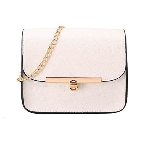 Longra Sacchetto diagonale del sacchetto di spalla del sacchetto della catena di modo delle donne Bianca